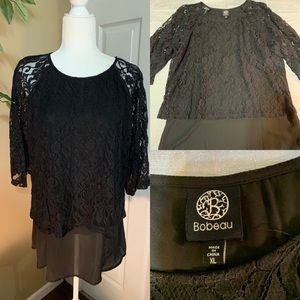 Bobeau black lace tunic top size XL